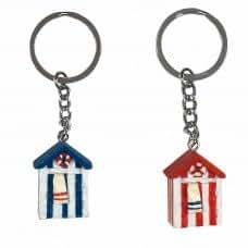 Porte-clés en forme de cabine de plage