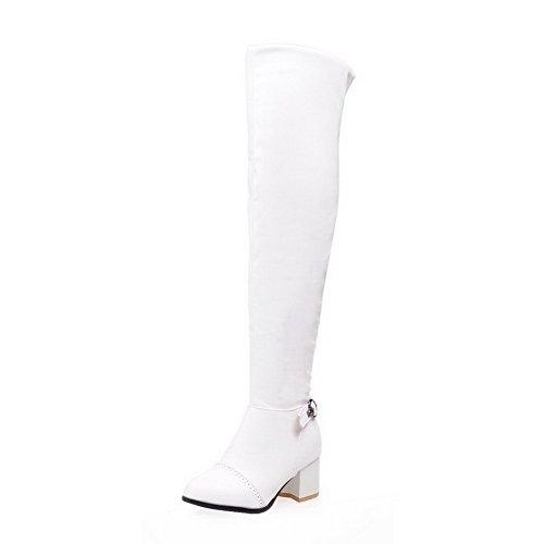 AgooLar Damen Ziehen auf Mittler Absatz Blend-Materialien Rein Knie Hohe Stiefel, Weiß, 38