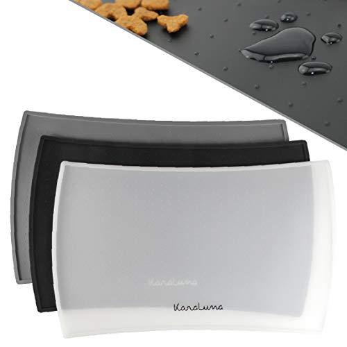KaraLuna Napfunterlage 60x40cm für Katze und Hund I Aus hochwertigem Silikon mit hohem Rand I Wasserdicht & Rutschfest (60x40cm, transparent)