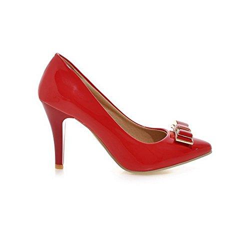 AllhqFashion Damen Ziehen Auf Stiletto Pu Leder Spitz Zehe Pumps Schuhe Rot