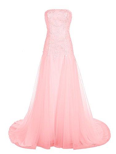 Find Dress Bustier Robe sans Manches Soirée Grande Taille pour Cérémonie Femme Mariage avec Broderie Floral Robe de Bal Longue Princesse Fête Noel Wedding Dress Multicouche Tulle Rose