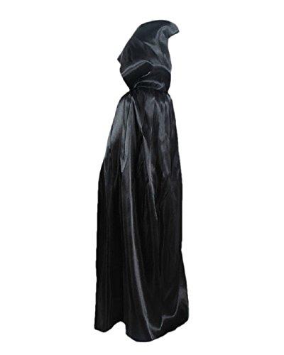 Geister-Umhang Halloween Umhang Karneval Fasching für Kinder Kostüm Cape mit Kapuze Schwarz 90 (Damen Dracula Kostüme)