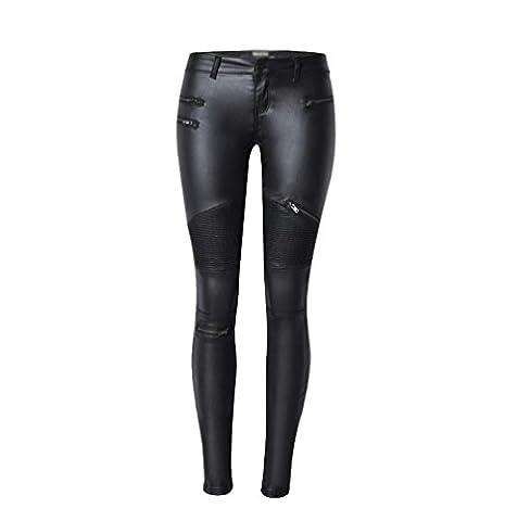 YiLianDa Femme Pantalons Sexy Taille Haute Pencil Joggings Crayon Strech Leggings en PU Cuir Skinny Pants 44