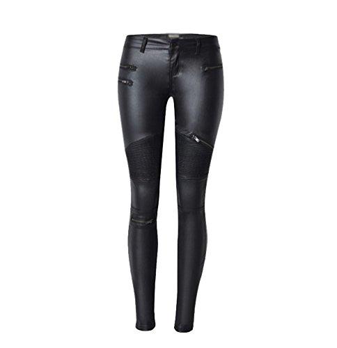 YiLianDa Pantalones de Cuero Imitación Leggings Cintura Alta para Mujer 38