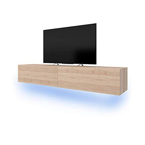 Lana - Meuble TV suspendu / Table Basse TV / Banc TV de Salon (100 cm, Aspect Bois de Chêne de Sonoma avec la LED bleue)