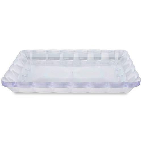 matana 6er Set Einweg Servierplatten aus Plastik - Einweg Platten Tablett zum Servieren aus Kunststoff - 32,4 x 23,8 cm