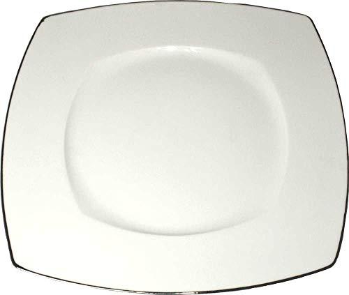 Lot de 6 Assiettes Plates Carrées 27 cm en Porcelaine Blanche Filet Platine