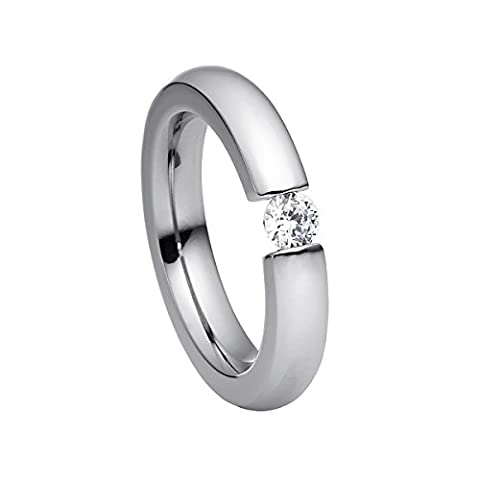 steel_art Damen-Ring alterna oval poliert Gr.55 Swarovski zirkonia peridot 4mm Ring mit Stein oval Zirkonia Diamant Brillantfassung Edelstahl Größe 55 (17.5)hr6401-3-9-55