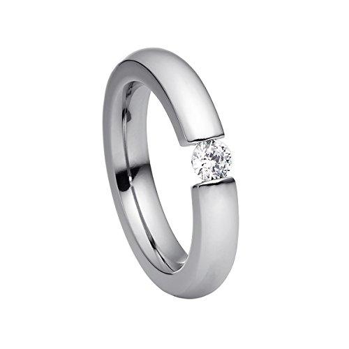 Heideman Ring Damen Spannring schmal aus Edelstahl Silber farbend matt Damenring für Frauen mit Swarovski Stein Zirkonia Weiss im Brillant Schliff 4mm (1 4 Diamant-verlobungsring)