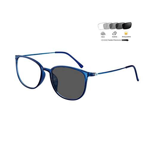 Eyetary Photochrome Lesebrille Männer Frauen Mode Retro Vollrand Brillengestell 1,56 Asphärisches Optische Linse Sonnenleser UV400 Blendschutz (+ 1,00 bis + 6,00 Dioptrien),BlueFrame,+2.5