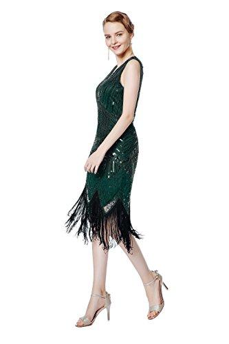 Metme Damen der 1920er Jahre V Ausschnitt Perlen Fransen Gatsby Thema Flapper Kleid für Abschlussball Grün