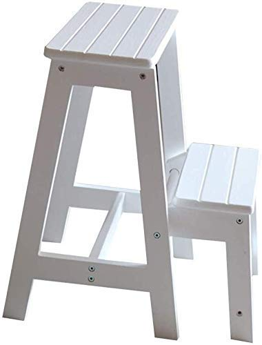 QTQZDD Leiterhocker Faltbarer Multifunktions-Haushalts-Massivholz-Aufbau 2-stufiger Leiter-Kletter-Mehrzweck-Freizeithocker, 2 Farben mit doppeltem Verwendungszweck (Farbe: Weiß, Größe: 29x48x55 cm)