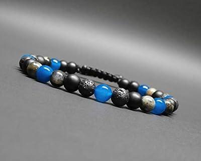 Bracelet homme, pierres naturelles, agate bleue, opale grise, roche volcanique, onyx noir mat Ø 6 mm
