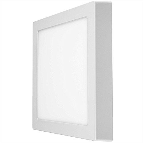 LUMIRA 18W LED Panel Quadratisch 225x225cm Aufputz-Strahler Decken-Lampe Decken-Leuchte 18 Watt Entspricht 150W Rahmenfarbe Weiß inkl. Befestigungsmaterial und Trafo 1350 Lumen 4000 Kelvin Neutralweiß