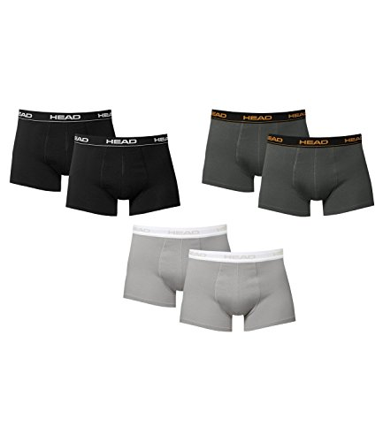 6 er Pack Head Herren Boxer Boxershorts Farbwahl 2015 NEU Black/Grey/Dark Shadow