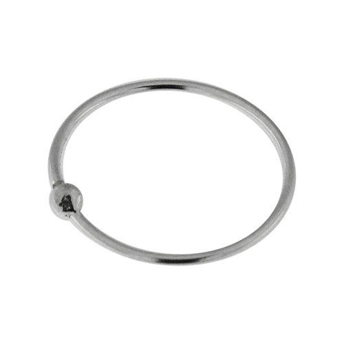7MM Durchmesser - offene Hoop Nasenring mit Ball 22 Gauge 925 Sterling Silber Nase Piercing Ring