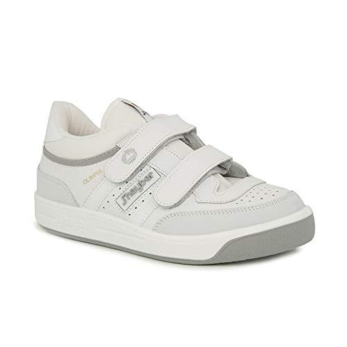 Zapatillas deportivas JŽhayber hombre color blanco con velcro piel flor modelo olimpia Talla 39