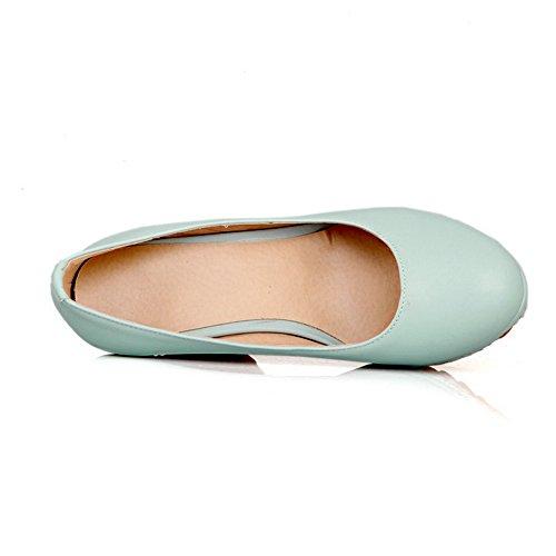 Donna Scarpe Colore Rotondo Solido tacco Di Cuoio Voguezone009 Tira Potrebbe Alto Azzurre Le dPwTdEq