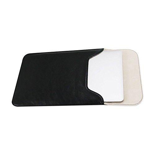 Jia HU 1PU Laptop Sleeve Portfolio Tablet Notebook Case Cover mit Magnet Verschluss Business School Schwarz