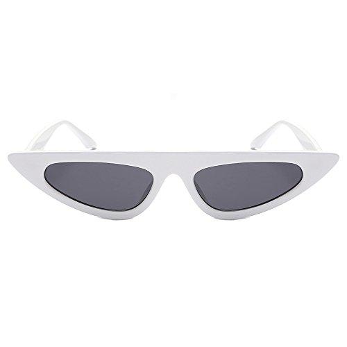 Damen Mode Cateye Sonnenbrillen Retro Kleiner Plastik Rahmen UV400 Brillen (#1 Weiß)