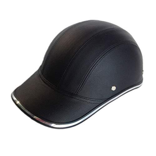Heaviesk Motorrad Fahrrad Roller Half Helm PU Leder Baseballmütze Stil Unisex Mode Schutzhelm Open Face Schutzhelm