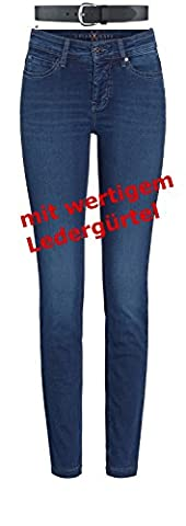MAC Dream Skinny Damen Jeans Hose 0355l540290 + draussen-aktiv.com Ledergürtel,