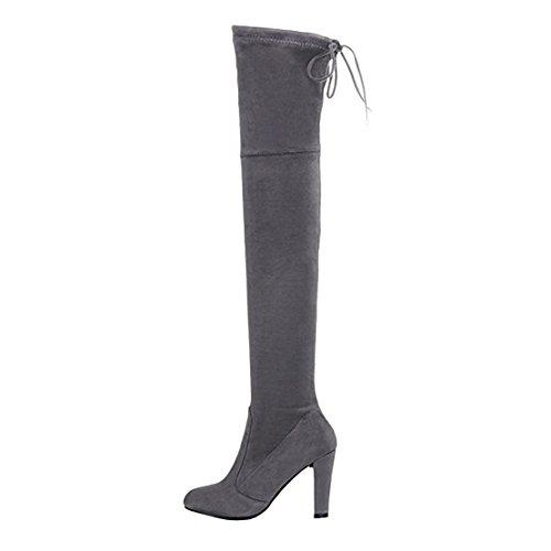 AIYOUMEI Damen Blockabsatz High Heels Overknee Stiefel mit Schnürung Stretch Boots -