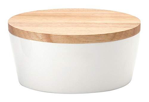 Continenta Pot à pain ovale avec couvercle en bois avec coins, arrière utilisable comme Planche à Découper, boîte à pain avec ventilation, en 3 tailles, Céramique, Anzahl: 2 Stück, 27 x 20 x 13,5 cm