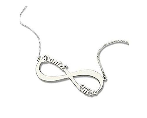 FUJIN Personalisierte 925 Sterling Silber Paar Infinity Name Halskette Anhänger nach Maß mit 2 Namen (Silber) (Kostüm Schmuck Libelle)