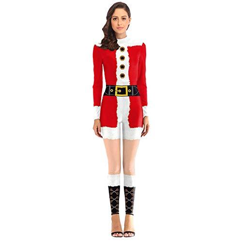 Amphia - Ladies Ball Party Santa verkleiden Sich Overalls,Frauen Weihnachten Weihnachtsmann Kostüm Cosplay 3D Gedruckt Ball Partei Overalls Anzug(Rot,XL)