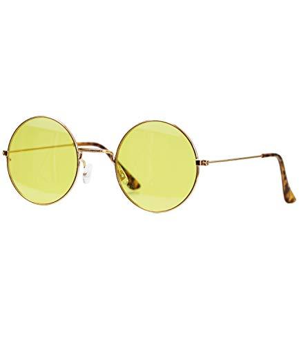 Caripe Lennon Retro Vintage Sonnenbrille Metall Damen Herren rund Nickelbrille (6826 - Gold - gelb getönt)