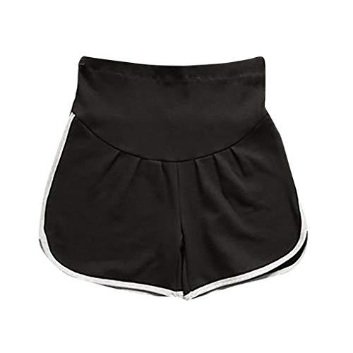 Lonshell Maternity Umstandsshorts Sport Yogahose Umstandshose mit Bauchband für Sommer Bequeme Umstandsmode Schlafanzughose Stoffhose für Schwangere Frauen