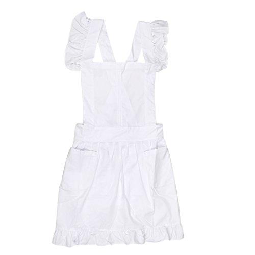 Viktorianischen Stil Damen Kostüm Pinafore Schürze Zofe Spitze Kittel Kräuseln Arbeitskleidung - Weiß