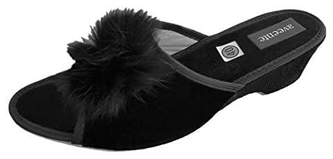 Famous-Boa Femme Talon compensé de Mule Slippers. à strass Différentes couleurs - Noir - noir, 41.5