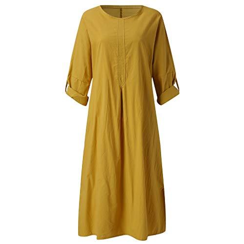 DIPOLA Damen Kleid Lässiges Kurzarmkleid für Damen Einfarbiges langes Sommerkleid Aus Baumwolle Mit O-Ausschnitt Und Taschen Vielseitiges Strandkleid T Shirt