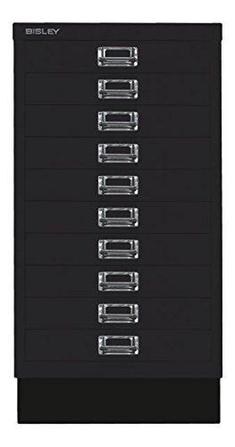 BISLEY MultiDrawer, 29er Serie mit Sockel, DIN A3, 10 Schubladen, Metall, 633 Schwarz, 43.2 x 34.9 x 67 cm