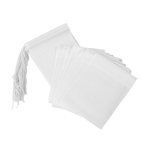 PPpanda Tea Bags Empty Paper Tea Filter Bags Disposable Infuser with Drawstring,100 pcs, 2.75x3.54inch/7x9centimeter.