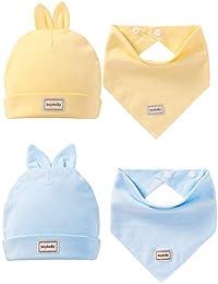 P Prettyia 2 Kit Bonnet avec Bavoir Triangle en Coton Doux Absorbant  Respirent pour Fille Garçon 5a31c5d6523