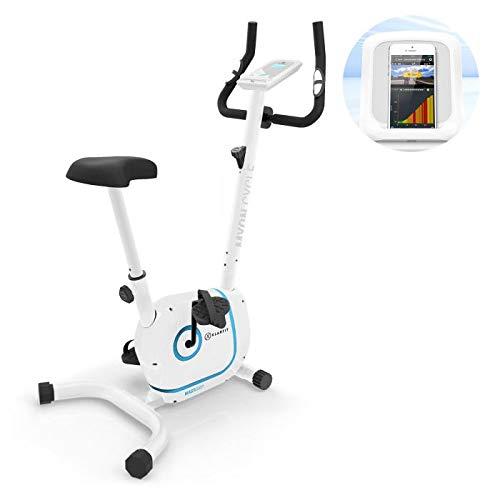 Klarfit Myon Cycle • Heimtrainer • 12kg Schwungmasse • Riemenantrieb mit SilentBelt • 8 Stufen • Pulsmesser im Haltegriff • verstellbare Sattelhöhe • rutschsichere Pedale • Tablet-Halterung • weiß