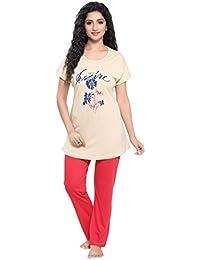 Boring Dress Hosiery (Cotton Knitted) Long Top and Pajama Set Night Suit Nighty Lounge  wear Nightwear Night Dress… c948692ef