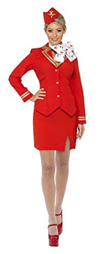 Fancy Air Hostess Dress Kostüm - Ladies Red & Gold Flight Attendant Air Hostess Cabin Crew Trolley Dolly Uniform Airways Career Hen Night Do Carnival Fancy Dress Costume Outfit UK 8-22 (UK 16-18)