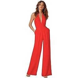 Minetom Femme Élégante Col V Profond sans Manches Dos Nu Jumpsuit Playsuit Rompers Bustier Licou Combinaison Pantalon Large Soiree Rouge FR 42