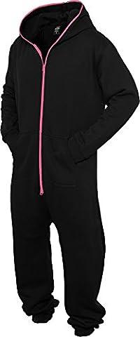 URBAN CLASSICS - Sweat Jumpsuit (black/fuchsia), Gr. XS/S