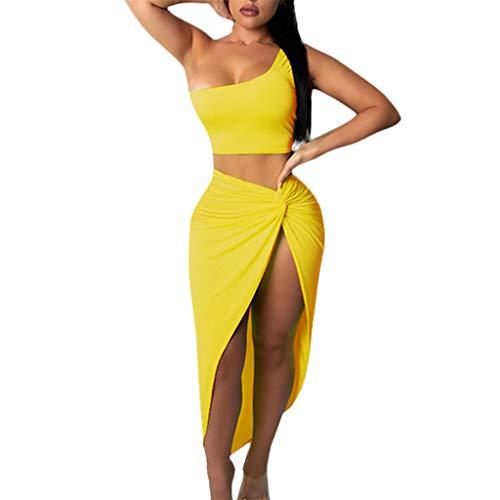 Damen 2 Stück Outfit Sets Eine Schulter Crop Top & Rock Set Sexy Engen Bodycon Slit Rock 2 Stücke Kleid für Frauen (Skirt Slit Sexy)