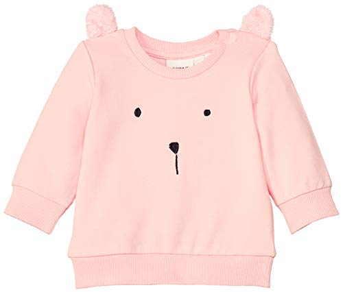 NAME IT Baby-Mädchen Sweatshirt NBFBEATE SWE O-Neck UNB, Rosa (Strawberry Cream), (Herstellergröße: 56) -