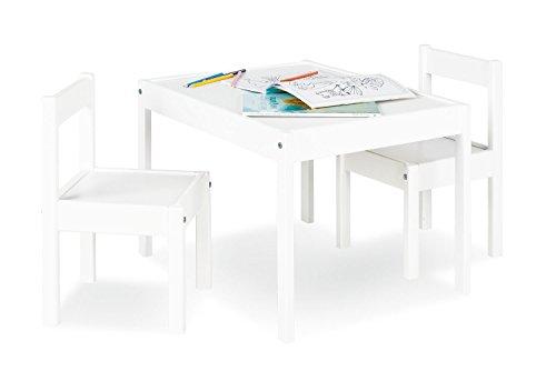 Pinolino Kindersitzgruppe Sina, 3-teilig, aus Holz, 2 Stühle und 1 Tisch, für Kinder ab 2 Jahren, weiß lackiert - Spiel, Tisch Erwachsenen Mit Stühlen