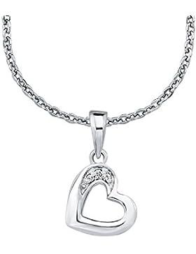 Amor Kinder-Kette mit Anhänger Herz Mädchen 925 Silber rhodiniert Zirkonia weiß längenverstellbar 35+3 cm 555661