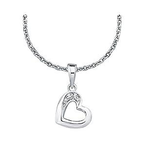 amor Kette mit Anhänger für Mädchen 35+3 cm längenverstellbar mit Anhänger Herz 925 Sterling Silber Zirkonia weiß