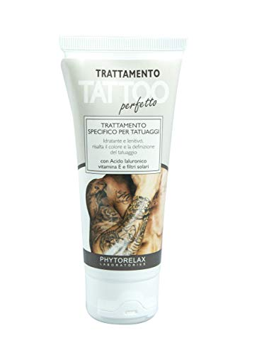 Phytorelax Laboratories Trattamento Tattoo Perfetto Trattamento Specifico per Tatuaggi con Acido Jaluronico, Vitamina e E Filtri Solari - 98% Ingredienti di Origine Naturale - 75ml