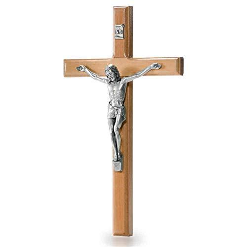 Wandkreuz Olivenholz Natur Kruzifix modern Christus Körper Metall Silber 20 x 11,5 cm Schmuckkreuz Holzkreuz